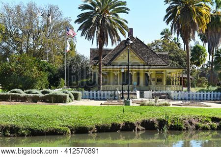 FULLERTON, CALIFORNIA - FEBRUARY 7, 2017: Fullerton Arboretum Heritage House. The house was built by Dr. George Crook Clark, in 1894.