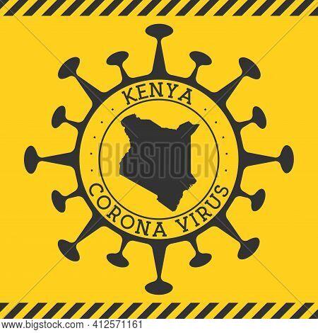 Corona Virus In Kenya Sign. Round Badge With Shape Of Virus And Kenya Map. Yellow Country Epidemy Lo