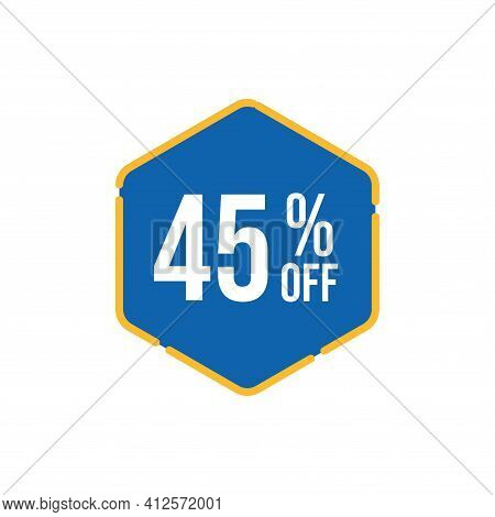 45% Sale Tag Vector Badge Template, 45% Sale Label Collection, Clearance Sale Sticker Emblem, Bargai