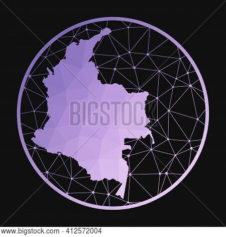 Colombia Icon. Vector Polygonal Map Of The Country. Colombia Icon In Geometric Style. The Country Ma