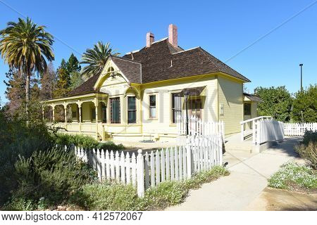 FULLERTON, CALIFORNIA - FEBRUARY 7, 2018: Fullerton Arboretum Heritage House. The house was built by Dr. George Crook Clark, in 1894.
