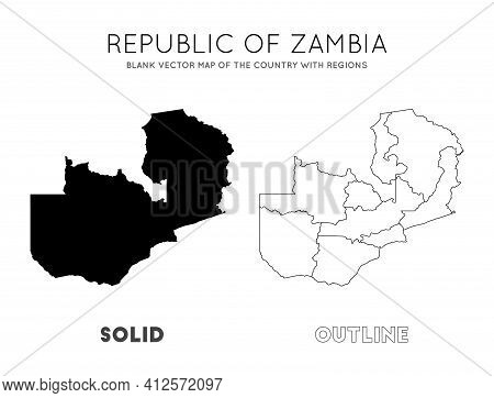 Zambia Map. Blank Vector Map Of The Country With Regions. Borders Of Zambia For Your Infographic. Ve