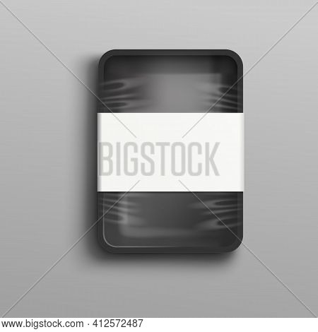 Black Plastic Food Container In Cellophane Wrapper With Blank Label