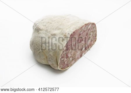 Pork Headcheese In A Natural Casing Isolated On A White Background. Homemade Brawn, Cut, With Visibl