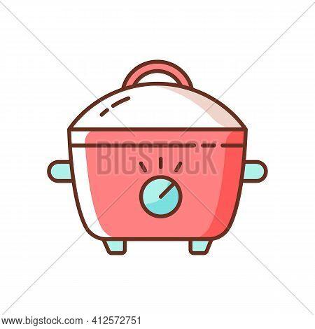 Slow Cooker Rgb Color Icon. Porcelain Crock Pot. Electric Utensil For Food Preparation. Pot For Cook
