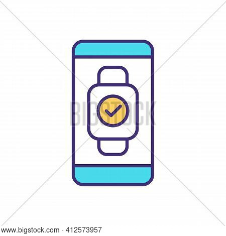 Synchronization Smartwatch With Phone Rgb Color Icon. Process And Data Synch Mode. Systems Coordinat