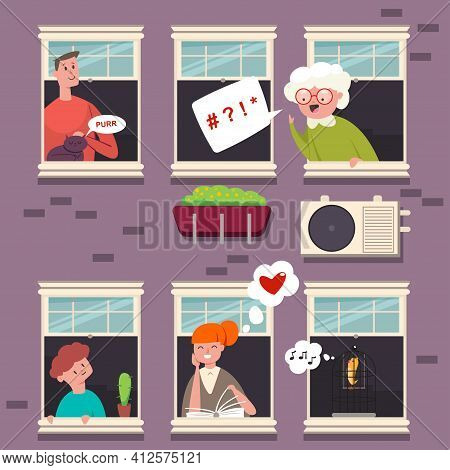 Neighbors In The Windows. People Character With A Speech Bubble. Vector Cartoon Flat Illustration Of