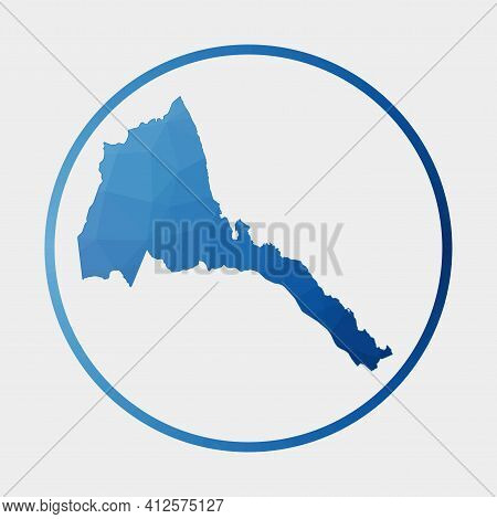Eritrea Icon. Polygonal Map Of The Country In Gradient Ring. Round Low Poly Eritrea Sign. Vector Ill