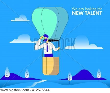 Looking For New Talent, Hiring And Recruitment, Looking For New Talent Illustration Concept Vector