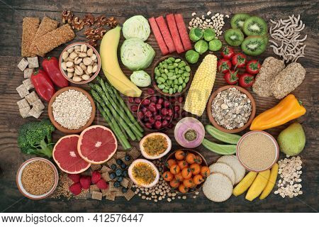 High fibre dietary health food for a healthy digestive system with fruit, nuts, seeds, vegetables, grains, legumes and cereals. High in antioxidants, vitamins, omega 3, lycopene and protein.