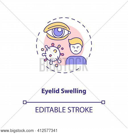 Eyelid Swelling Concept Icon. Emergency Eye Exam Reasons. Infection And Trauma Results For Body Orga