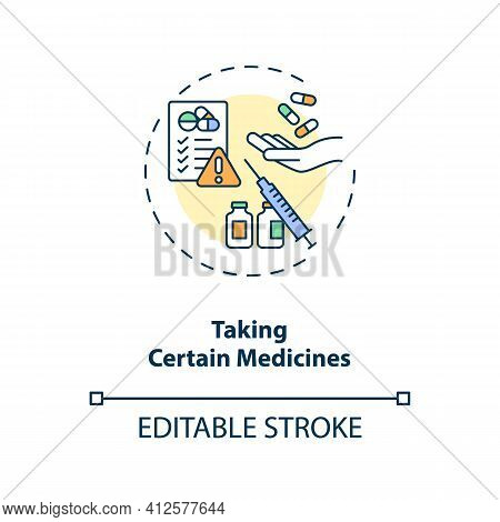 Taking Certain Medicines Concept Icon. Dry Eye Causes. Clinical Treatment Process Of Eyes Diseases I