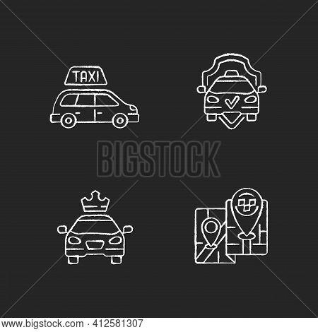 Modern Taxi Service Chalk White Icons Set On Black Background. Safe Ride. Long Distance Trips. Premi