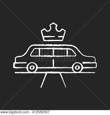 Limousine Service Chalk White Icon On Black Background. Transportation Service. Premier Car Using. L
