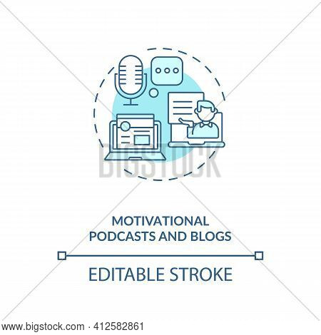 Motivational Podcasts And Blogs Concept Icon. Inspiration From People Idea Thin Line Illustration. L