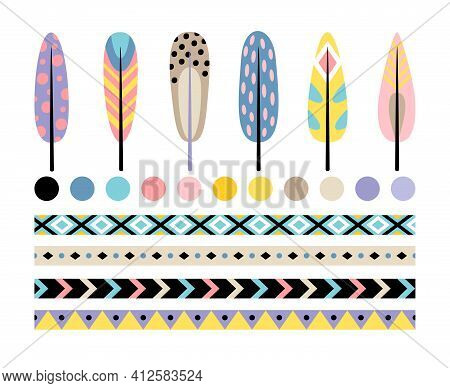 Indian Feather Set. Cartoon Elements Of Ethnic Head Decorations, Fluffy Multi Colors Feathers, Vecto