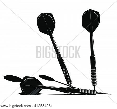Dart Arrow In Contrasting Black And White Style. Equipment For Sports Competitions Of Darts. Vector