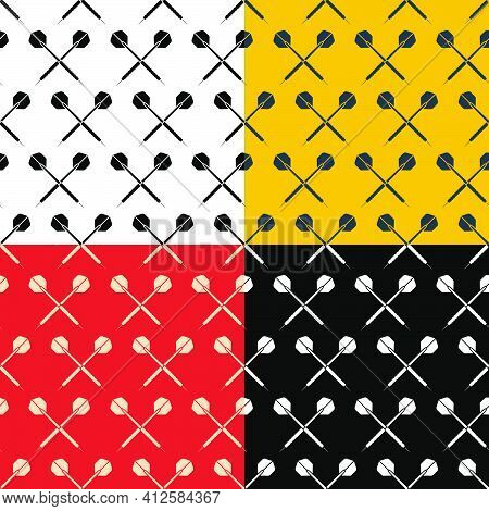 Set Of Seamless Patterns With Dart Arrow. Equipment For Sports Competitions Of Darts. Ornament For D
