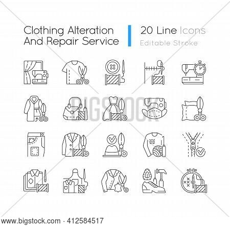 Clothing Alteration And Repair Services Linear Icons Set. Professional Upholstery. Garment Restorati