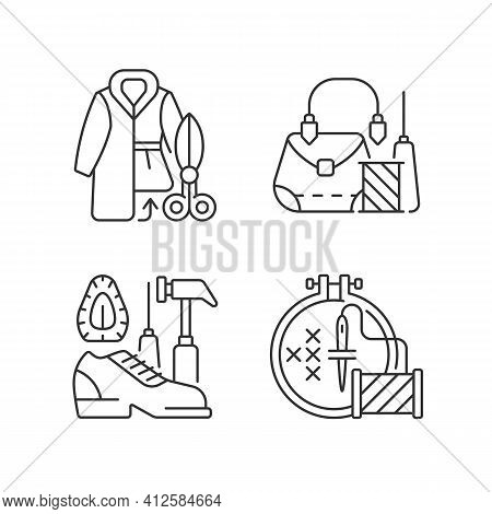 Clothes Repair Linear Icons Set. Fur Outerwear Resizing. Leather Bag And Accessories Fix. Customizab