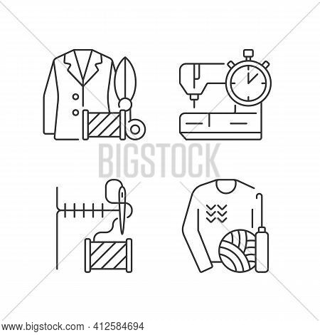 Outfit Repair Services Linear Icons Set. Custom Clothes Production. Needlecraft, Tailor Workshop. Cu