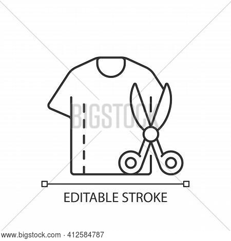 Resizing Clothes Linear Icon. Garment Restoration. Damaged Shirt. Fixing Outfit With Scissors. Thin