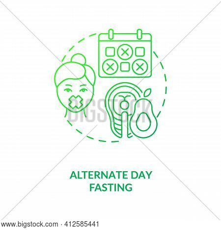 Alternate Day Fasting Dark Green Concept Icon. Diet Plan. Eating Pattern. Weight Loss. Intermittent
