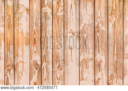 Brown Planks Of Fence Surface With Natural Pattern, Wood Texture Background.