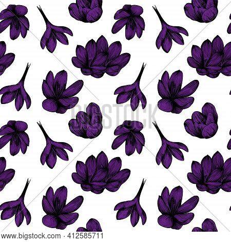 Saffron Seamless Pattern Sketch.purple Crocus Flower Pattern. Hand-drawn Vector Illustration