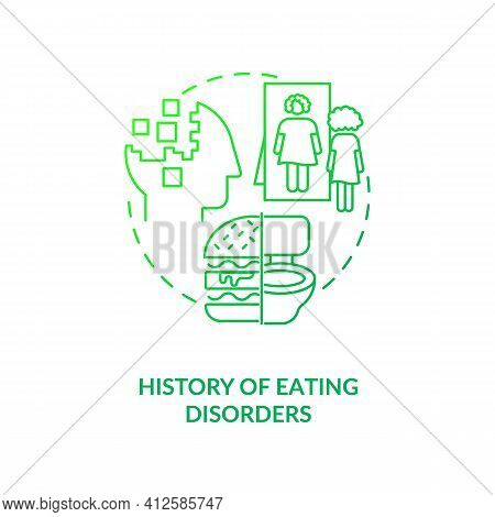 History Of Eating Disorders Dark Green Concept Icon. Anorexia And Bulimia Problem. Intermittent Fast