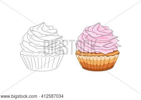 Cupcake With Pink Cream. Coloring Book. Hand Drawing. Vector Illustration. Cartoon Style. Logo For H