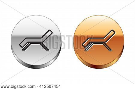 Black Line Sunbed Icon Isolated On White Background. Sun Lounger. Silver-gold Circle Button. Vector