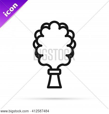 Black Line Sauna Broom Icon Isolated On White Background. Broom From Birch Twigs, Branches For Russi