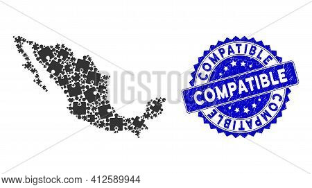 Mexico Collage Map Created With Puzzle Piece Items, And Compatible Distress Seal Stamp. Vector Puzzl