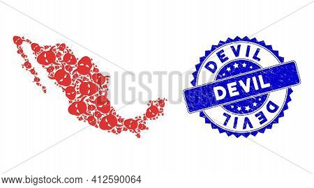 Mexico Mosaic Map Done From Daemon Head Pictograms, And Devil Scratched Seal Stamp. Vector Daemon He