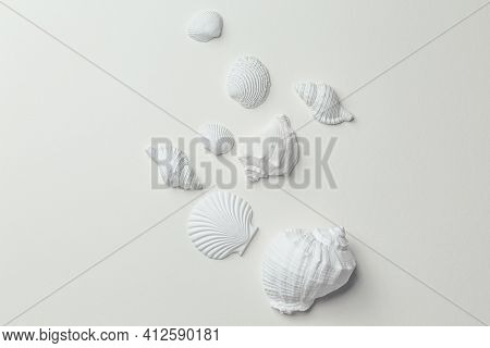 Set Of White Monochrome Assorted Seashells On White Paper Top View. Different White Seashells From A