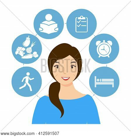 Cope With Stress And Anxiety. A Young, Smiling Woman Who Looks After Her Emotional Health. Flat Vect