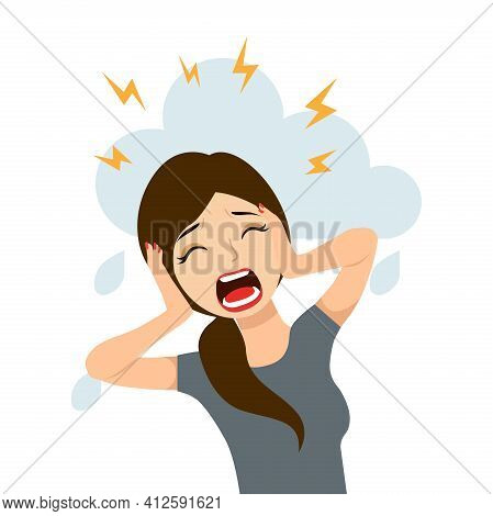 Vector Illustration Of A Screaming Woman.psychology, Depression, Bad Mood, Stress.