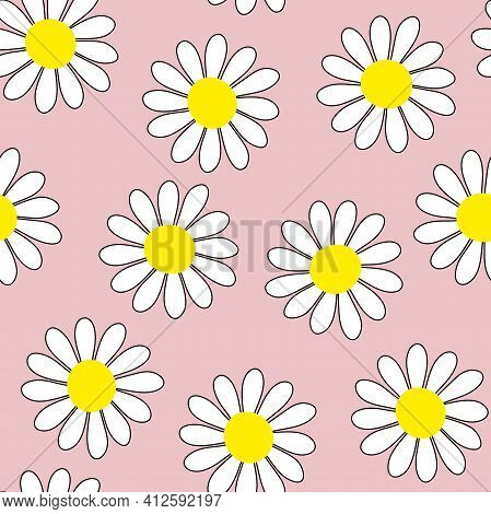 Camomile Seamless Vector Pattern. White Flowers With Yellow Centers On Pastel Pink Background. Flowe
