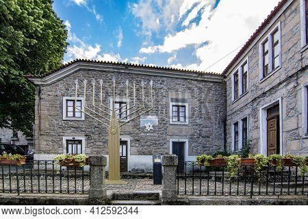 Belmonte, Portugal; May 2017 : Giant Menorah And Jewish Shop In Belmonte, Portugal. Since Medieval T