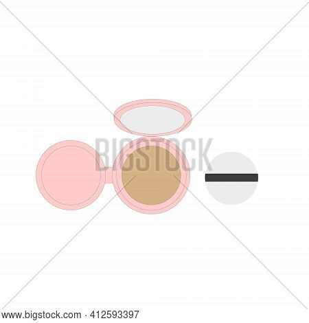 Pink Face Cushion With Sponge. Foundation Cream For The Face. Bb- Cream.vector Illustration.
