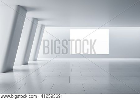 Blank White Poster On Light Wall In Modern Empty Spacious Gallery Hall With Huge Columns And Ceramic