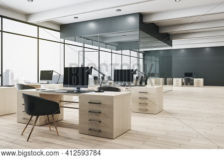 Monochrome Style Interior Design Of Open Space Office With Conference Room Behind Glass Walls, Woode