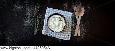 Aromatic Mashed Potato Bowl With Herbs. Mashed Potato