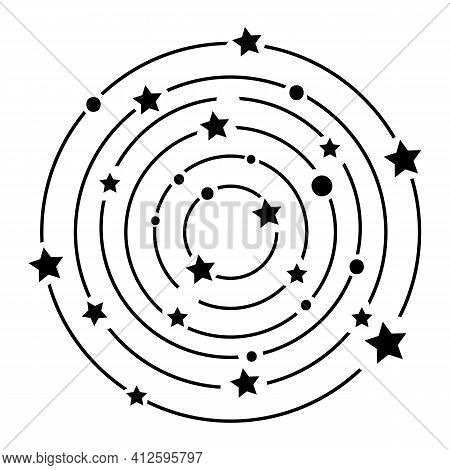 Black Outline Constellation With Stars In Modern Mystical Style. Vector Boho Illustrations. Hand Dra