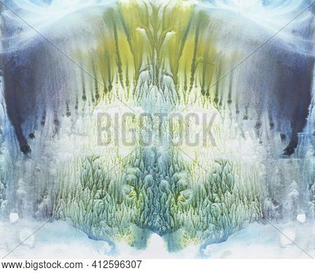 Colorful Symmetric Background. Blue, Green And Yellow Watercolor Paint. Abstract Painting.