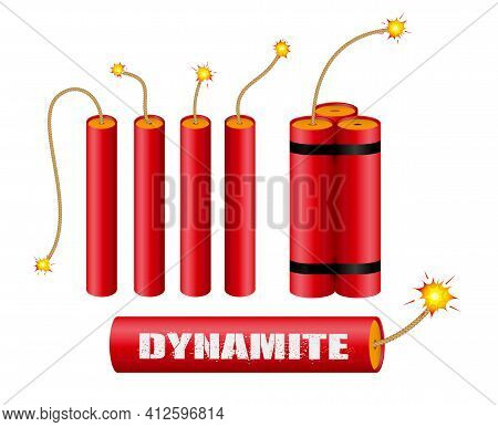 Set Of Realistic Dynamite With Burning Wick Or Realistic Bomb Firecrackers Or Red Bomb  Fireworks Wi