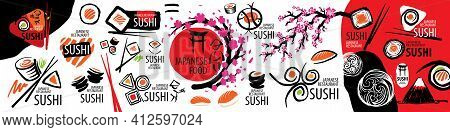 Large Vector Set Of Japanese Food Logos On A White Background