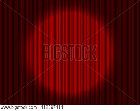 Curtain On Stage. Red Background With Spotlight In Theater Or Cinema. Red Closed Velvet Curtain For