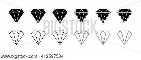 Diamond Icon. Gem Crystal. Logo Of Jewel Brilliant. Blue, Outline And Black Gemstone. Graphic Symbol